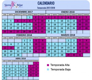 calendario esqui